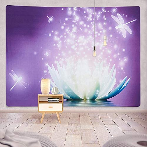 ENJOHOS Large Purple Lotus Tapestry Bedroom Wall Hanging Zen Life Spiritual Meditation for Living Room Home Decor Wall Art W79 x T59