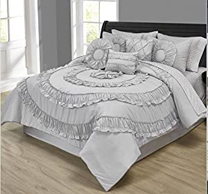 Morgan Home Fashions Janetta 10 Piece Comforter Set - Complete Bed in a Bag Includes Comforter, Sheet Set and Decorative Pillows – Available in Numerous Colorways (Grey, King)