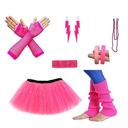 SurpCos 80s Outfit Costume accessories Women Tutu Skirt Earings Stretch Headband Necklace Bracelets Fishnet Gloves Leg Warmer (Red Set)