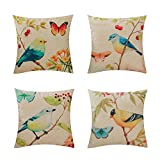 Decorative Pillow Cover - Heyhousenny Decorative Pillow Covers for Sofa Cotton Linen Cushion Covers 18 x 18 inches Pack of 4 (Bird and Butterfly)