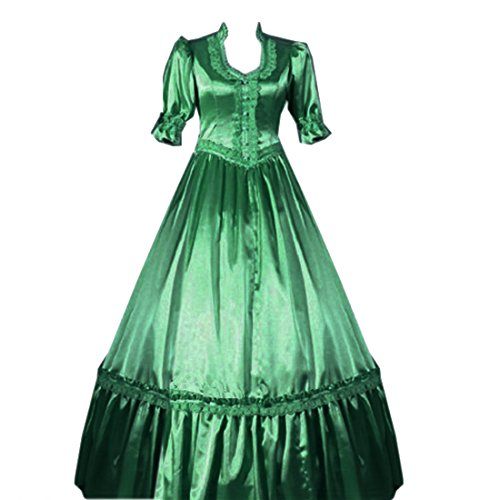 Cheap Victorian Dress (Partiss Women Lace Ruffles Fancy Dress Gothic Victorian Lolita Dress, M, Green)