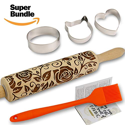 (Rose Embossed Rolling Pins for Baking Cookies + Basting Brush + Cookie Cutters + Recipes Embossing Rolling Pin Paisley Flowers Wood Pies Laser Engraved Rolling Pin 3D Embossed Dough Roller Christmas)