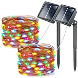 Lhomeled Solar String Lights,8 Modes 66ft 200LED Outdoor Starry String Lights,Copper Wire Waterproof Decorative String Lights for Patio,Garden,Gate,Yard,Party,Wedding,Christmas(Multicolor-2 Pack)
