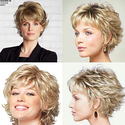 Bybrana Hair Short Wigs For Middle Age Women Black Blond Wig Curly Wavy Lady Mother Mom With Air Bangs Synthetic Daily Wig for Costume Wigs