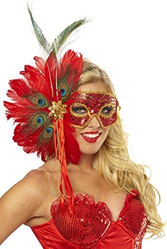 OvedcRay Spanish Peacock Red Sequin Feather Mask Mardi Gras Masquerade Costume (Coat Colors Catholic Costumes)