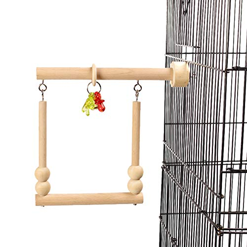 QBLEEV Bird Swing, Parrot Perch, Bird Stands, Bird Playstand, Bird Cage Wooden Stands with Bell Chewing Beads for Conure Parakeet s Cockatiels Cockatoos Lovebird Parrotlet