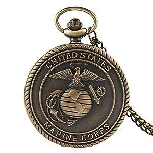 Men's Pocket Watch, Vintage Bronze Marine Corps/United State Navy Quartz Pocket Watch with 30cm Chain Men Women, Gift for Men
