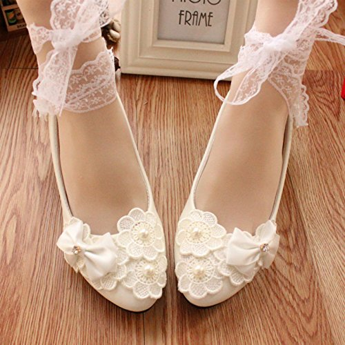 hechas Heels blanco Pearl High mano mujeres Nupcial Lace Pretty Las Ribbon JINGXINSTORE a White Shoe wxEqO6a