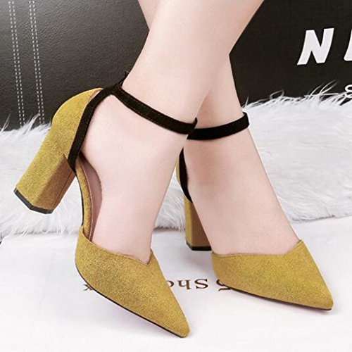 Yellow High Thin Elegant Simple Mouth heeled Heels Cjc Baotou Sandals Shallow Fashion Sexy High Banquet qwIgYx6