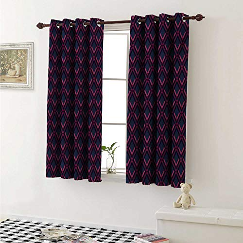 shenglv Geometric Blackout Draperies for Bedroom Vibrant Digital Featured Diamond Symmetric Hexagon Contemporary Print Curtains Kitchen Valance W72 x L63 Inch Pink Plum Dark Blue ()