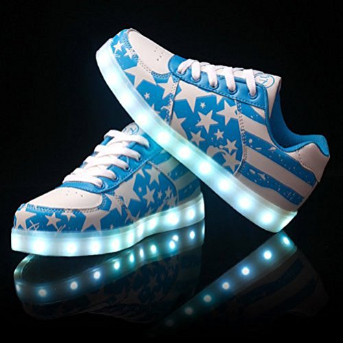 (Present:small towel)JUNGLEST® 7 Colors Stars Led Trainers Light Up For Kids U Blue