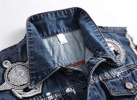 Men/&Womens Fit Retro Ripped Denim Vest Sleeveless Jean Vest and Jacket