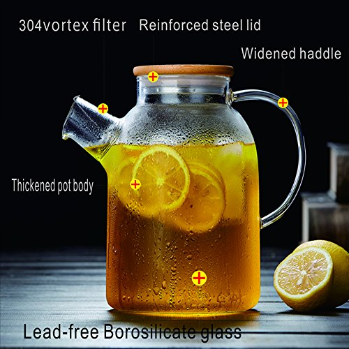 64 Oz Glass Teapot with Stainless Strainer Functional Borosilicate Glass Pitcher with Bamboo Lid