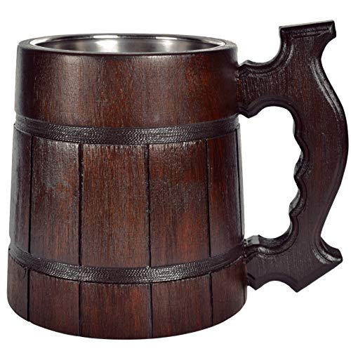 Wooden Beer Mug Men. Craft IPA Drinking Cup. Pint Wood Stein. Viking Ale Mead Dad Tankard Handle. Funny Father Day Wine Tumbler, Birthday Anniversary Gift. Cute Man Cave Rustic Decor, Party Accessory ()