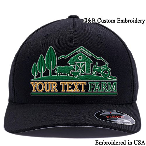 Farm Logo With Your Own words Embroidered Flexfit 6477 Wool Blend Hat. (S/M, Black) Black Logo Wool Blend