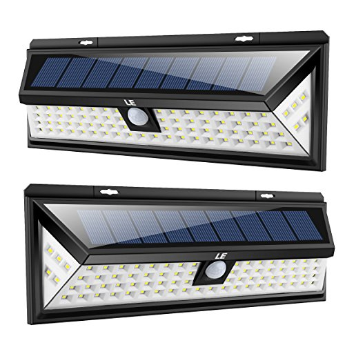 LE 80 LED Solar Lights Outdoor with Motion Sensor, 3 Optional Lighting Modes, 270 Degree Angle, Daylight White 6000K, 8W 1050LM, for Garden, Fence, Yard, Driveway, Front Door and More, Pack of 2