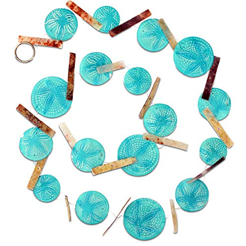 Roundel Spacer - The Beach Chic Garland Swag, 6 Ft Long, Shades of Blue Translucent Turquoise Roundels, Patterned Mother of Pearl Shells, Sea Dollar Pattern, Brown Spacers, Transparent Cord, Silver Metal Ring, By WHW