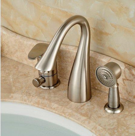 GOWE Brushed Nickel 3 PCS Tub Faucet Hand Sprayer W/ Diverter Sink Mixer Tap