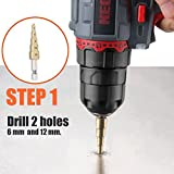 Double Headed Sheet Metal Nibbler, REXBETI Drill Attachment Metal Cutter with Extra Punch and Die, 1 Cutting Hole Accessory and 1 Step Drill Bit, Perfect for Straight Curve and Circle Cutting