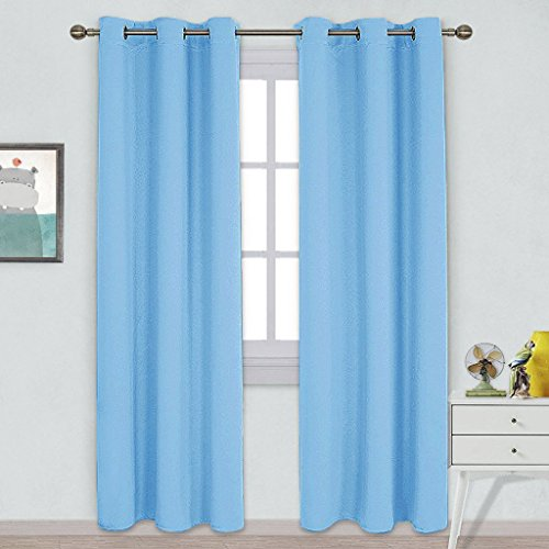 NICETOWN Tripe Wave Thermal Insulated Ring Top Blackout Window Curtains for Bedroom (Double Panels, 42