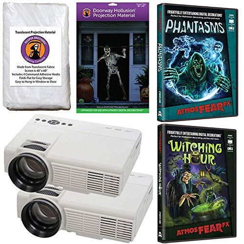 AtmosFearFx Halloween Digital Decoration Kit Includes: (Qty 2) Projectors + (1) Hollusion Door + (1) Reaper Bros Window Projection Screens + Phantasms + Witching Hour DVD's
