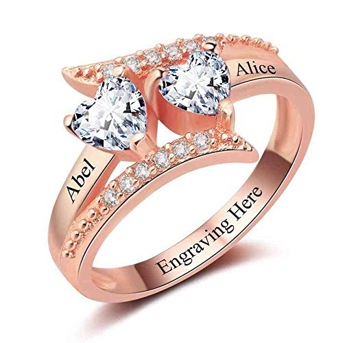 Lam Hub Fong Personalized 2 Simulated Birthstone Promise Rings for Couple Custom Engraved Names Mothers Rings for Women Rose Gold (10) ()