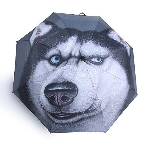 KOOK Funny dog umbrella Auto Open Close Compact Rain Sun UV Protection picture funny umbrella (Siberian (Huskies Umbrella)