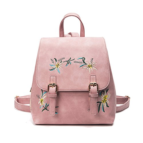 Backpack,Personality High Quality Unisex Unique Backpack, TUDUZ Amazing Fashion Teenage Girls Women's Leather Embroidery Flowers School Bag Travel Backpack Bag (Gray) Pink