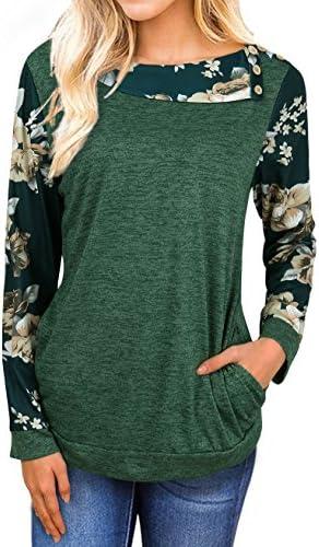 faddare Comfy de la mujer Raglan Floral impresión de manga larga blusa Tops con bolsillo