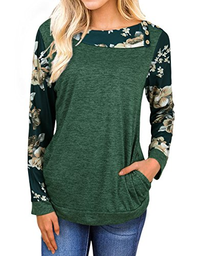 Faddare Juniors Tops, Teen Sweater Knitted Tee Casual Marled Cowl Neck Top,Green XL