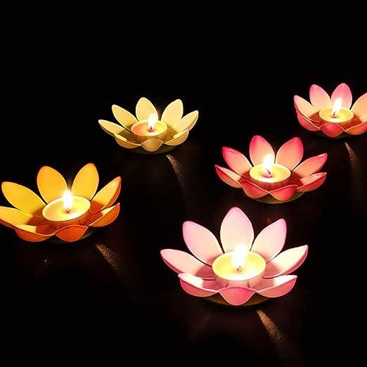 Mobestech 5 piezas 12cm luz de vela de loto bendición de ...