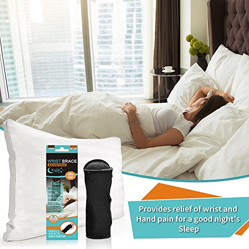 Fibee Night Wrist Sleep Support Brace, Palm Cushion Relieves Carpal Tunnel, Tendonitis, Ulnar Pain Etc, Wrist Splint for Men and Women, Night Wrist Brace with Metal Support for Right and Left Hand by fibee (Image #5)
