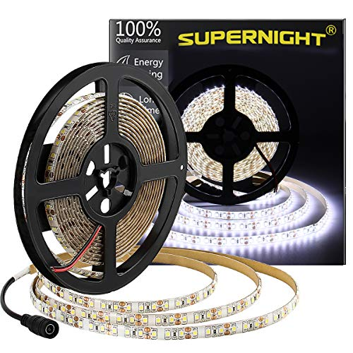 600 LEDs Light Strip Waterproof Cool White 7000K, SUPERNIGHT 16.4FT LED Rope Lighting Flexible Tape Decorate for Bedroom Boat Car TV backlighting Holidays Party (Best Supernight Televisions)