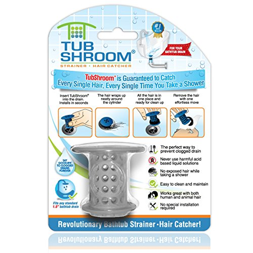 TubShroom the Revolutionary Tub Drain Protector Hair Catcher/Strainer/Snare, Gray (Drain Tub Cover Shower)