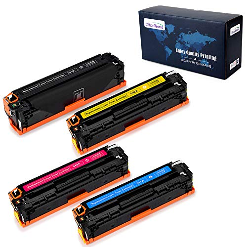 Office World Compatible Toner Cartridge Replacement for HP 125A CB540A for HP Color Laserjet CP1215 CM1312NFI MFP CM1312 MFP CP1515n CP1518NI (1 Black, 1 Cyan, 1 Magenta, 1 Yellow), 4 Pack