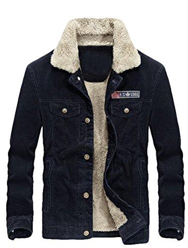 style2 Eu Veste Matchlife Homme Velours 2xl Bleu Cotéle s Polaire Blouson Chaud Nouveau Foncé AOCOHq