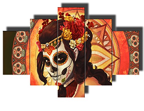 Day of The Dead Decor Framed Wall Art for Living Room Portrait of Calavera Catrina Pictures Sugar Skull Girl 5 Panel Canvas Paintings Home Decor Artwork Ready to Hang Posters and Prints(60''Wx40''H) -