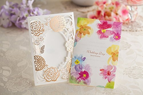 100x Wishmade CW065 Colorful Flower Wedding Invitations Cards DHL shipping by wishmade (Image #5)