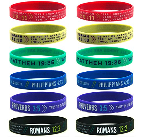 (12-pack) Colorful Bible Wristbands - Philippians 4:13, Jeremiah 29:11, Romans 12:2, Isaiah 41:10, Proverbs 3:5, & Matthew 19:26 - Christian Bulk Gifts - Silicone Rubber Bracelets in Mixed Adult Sizes