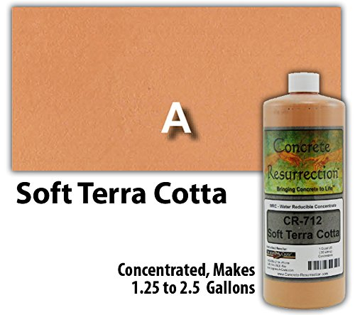(Concrete Stain Concentrate Just Add Water, User & Eco-Friendly Semi-Transparent Professional Grade Cement Stain, Concrete Resurrection Brand (32 ounce, Soft Terra Cotta))