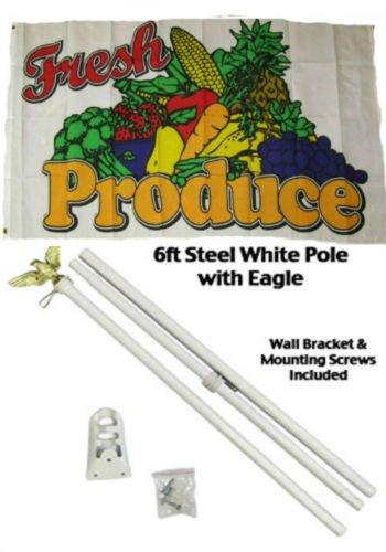 Flag 3x5 Advertising Fresh Produce White Pole Kit Set 3'x5'