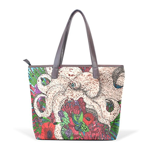COOSUN Coral Rose Art grandes bolsas de cuero de la manija de la PU Bolsa de hombro bolsa de asas L (33x45x13) cm Multicolor # 002