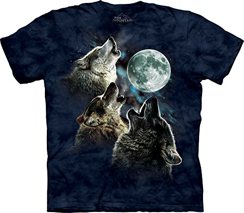 The Mountain Men's Three Wolf Moon Short Sleeve Tee, Blue 6, Large (Moon Wolf T-shirt)