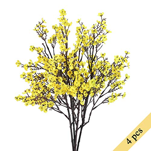 NAHUAA 4PCS Yellow Babys Breath Artificial Flowers Fake Silk Real Touch Floral Bouquet Home Office Farmhouse Wedding Centerpiece Arrangements Decor for Vase