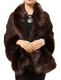 Ladies/Womens Luxury Bridal Faux Fur Shawl Wraps Cloak Coat Sweater Cape