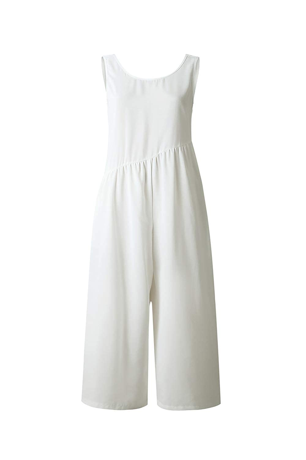 Empezars Women Casual Jumpsuits Sleeveless Long Wide Leg Romper with Pockets
