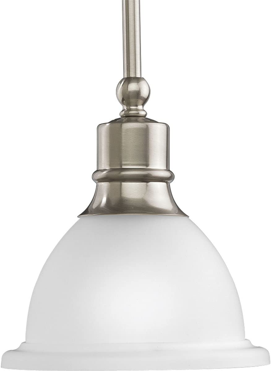 Progress Lighting P5078-09 1-Light Stem-Hung Mini-Pendant with White Etched Glass, Brushed Nickel