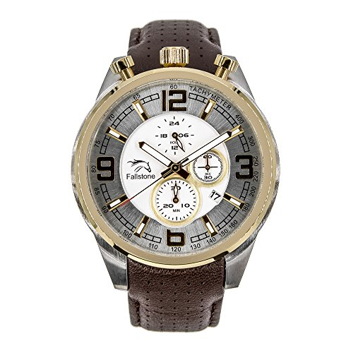 FALLSTONE Men's Japan Movement Quartz SS Case, Analog Sports Waterproof, Business Casual Wrist Watch for Men Genuine Leather Band Strap, Calendar Date, Golden and Silver