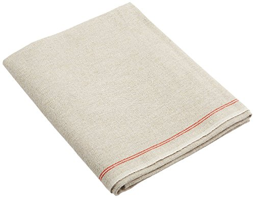 BrotformDotCom Professional Bakers Couche - 100% Pure Flax Linen Proofing Cloth from France, with One Bonus Mure & Peyrot Fixed Blade Lame, 35x26 Inch, the Original Red Stripe Signature Couche
