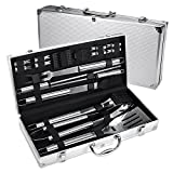 Image of FYLINA BBQ Grilling Set 18-Piece Stainless Steel Utensils Barbecue Tools Grill Accessories with Aluminum Storage Case - Perfect Outdoor Grilling Kit
